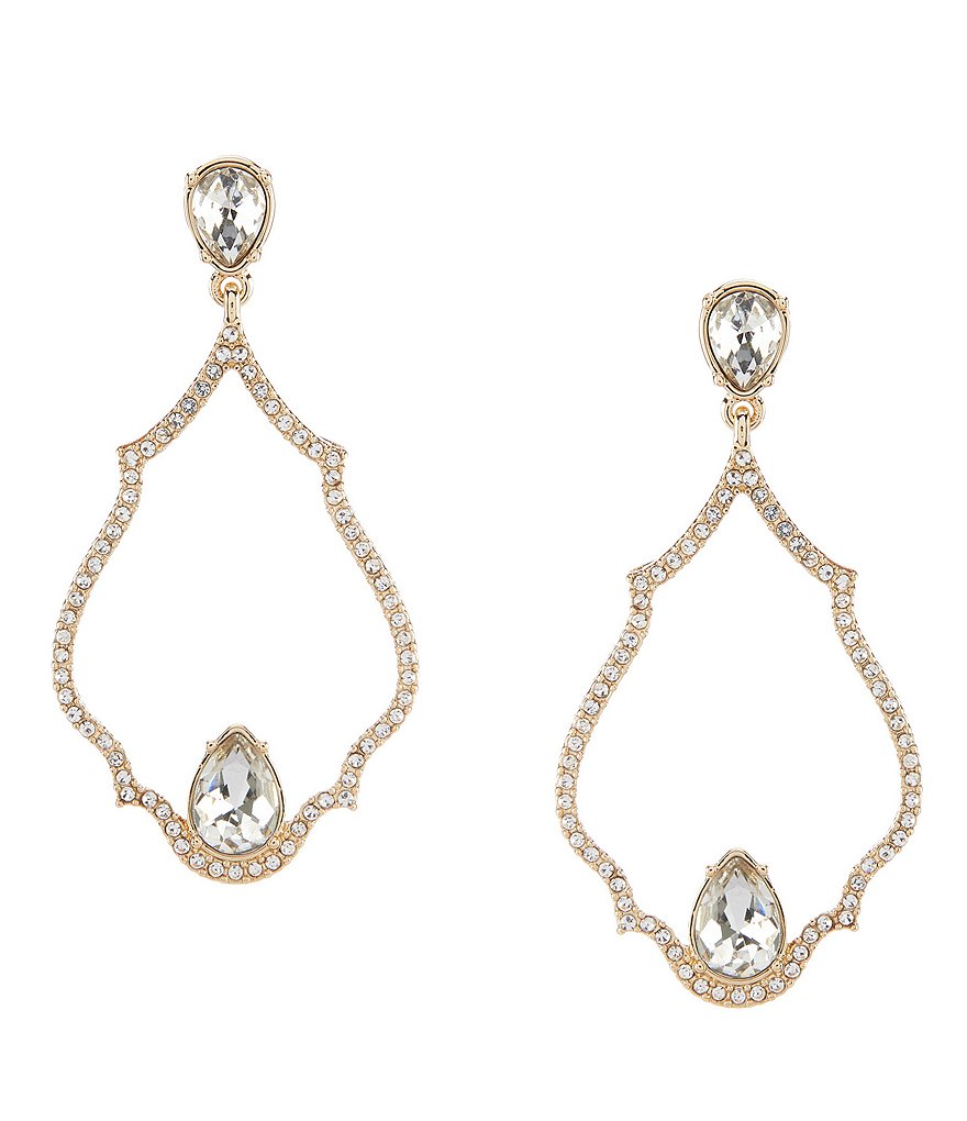 Gemma Layne Pave Tear Drop Chandelier Statement Earrings