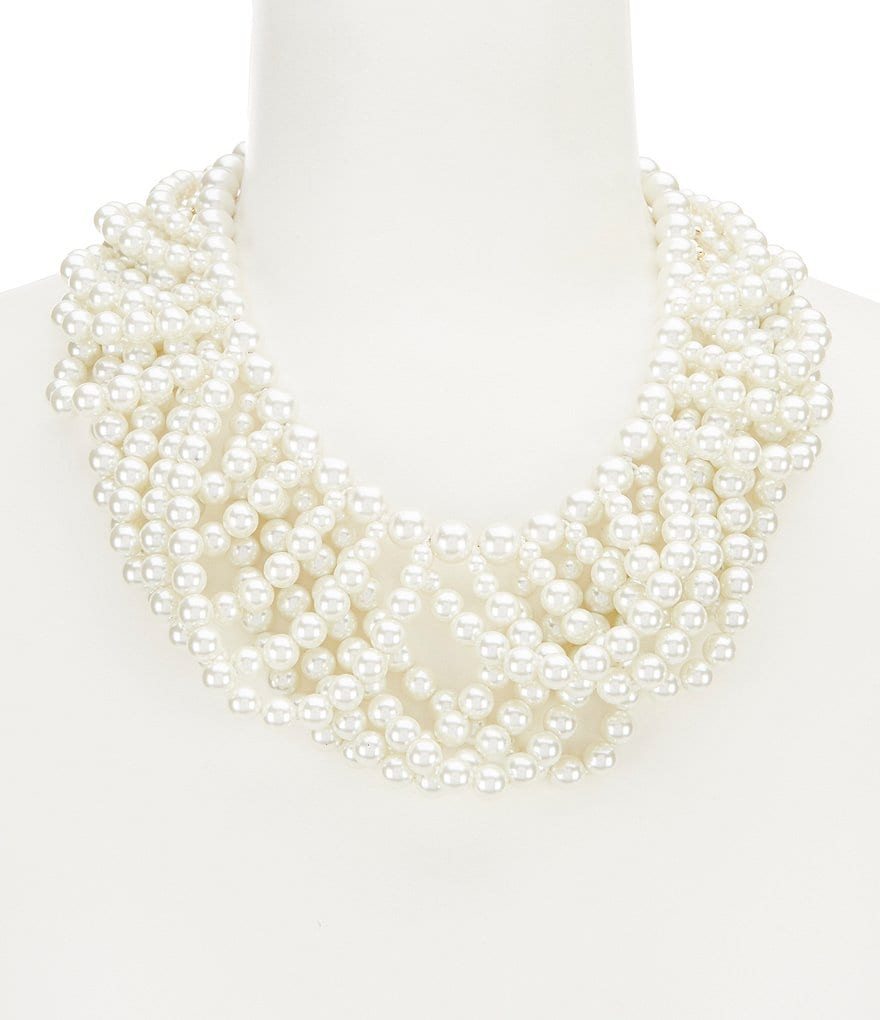 Gemma Layne Faux-Pearl Swag Statement Necklace