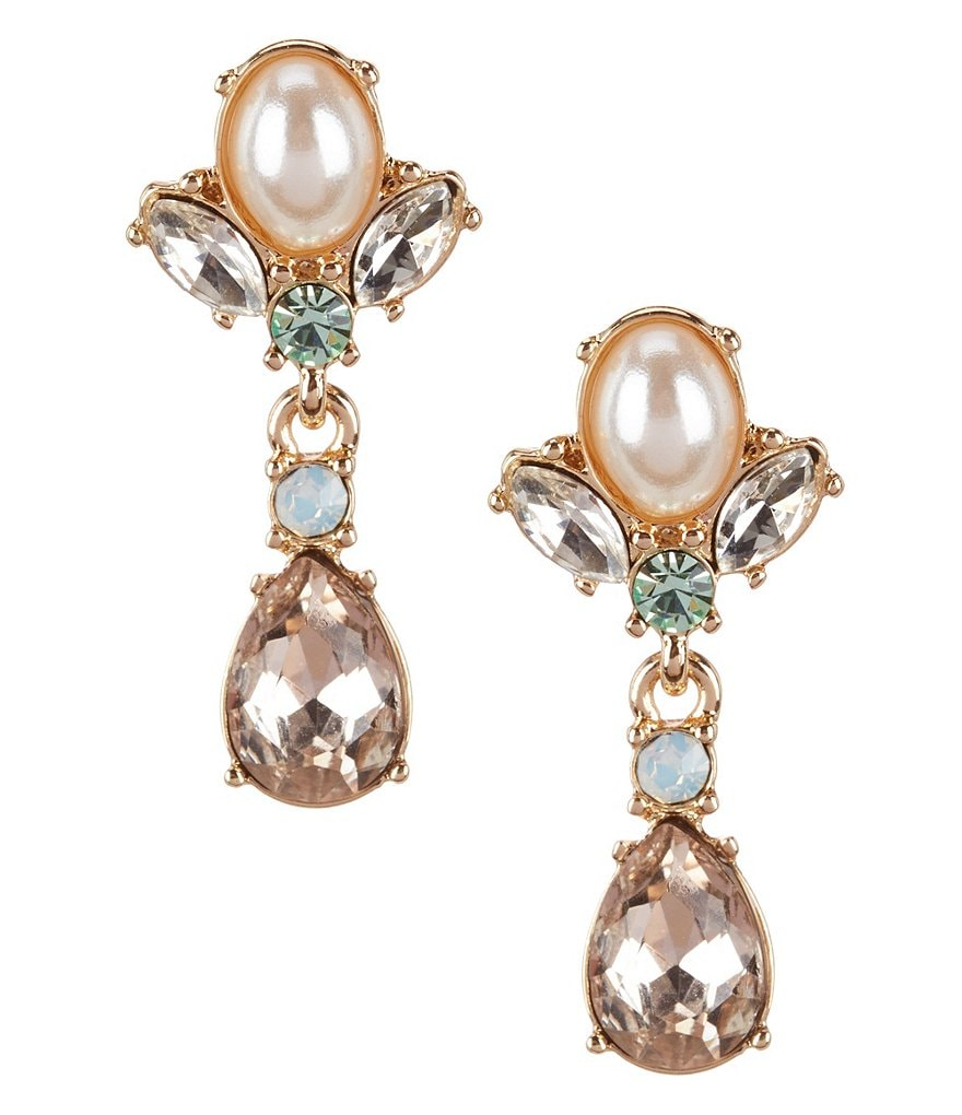 Gemma Layne Rhinestone Wingtip Drop Statement Earrings