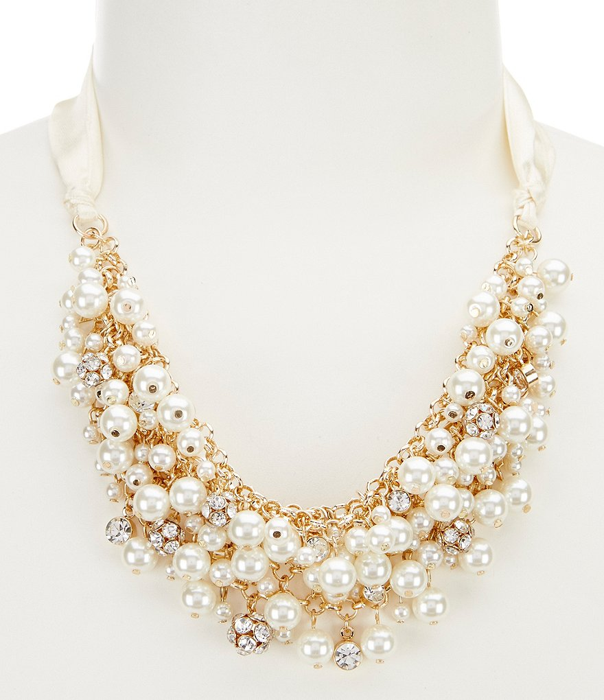 Gemma Layne Ribbon & Faux-Pearl Statement Necklace