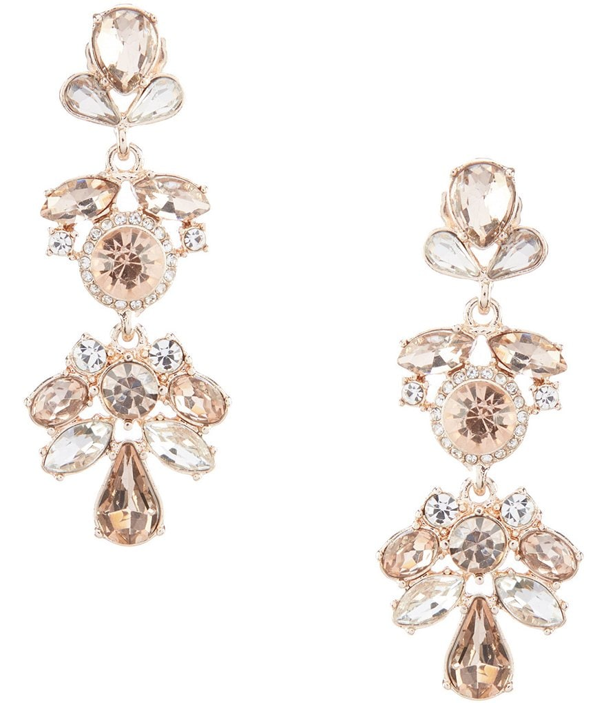 Gemma Layne Round Pavé Multi Stone Drop Statement Earrings