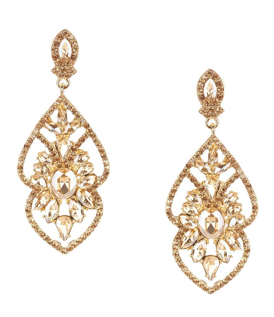 Gemma Layne Wing Rhinestone Chandelier Statement Earrings