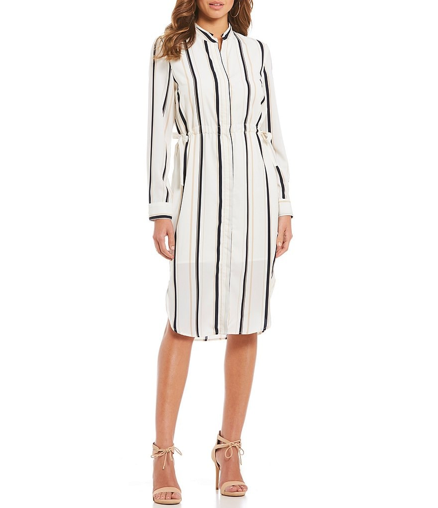 Gianni Bini Bailey Striped Midi Shirt Dress