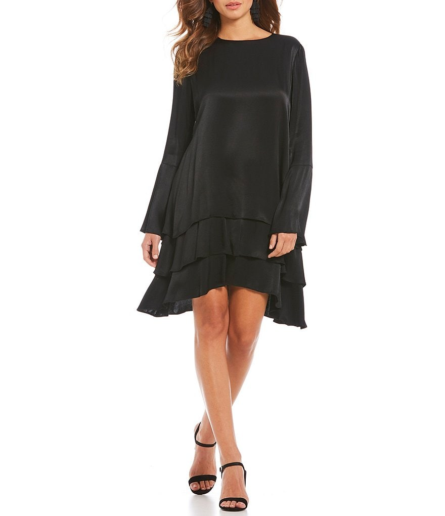 Gianni Bini Bella Flared Tie Sleeve Satin Shift Dress