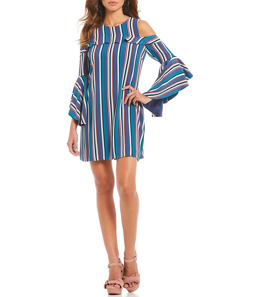 Gianni Bini Bonnie Striped Cold Shoulder Shift Dress