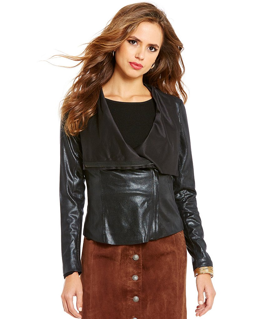 Gianni Bini Brynn Draped Neck Faux-Leather Jacket