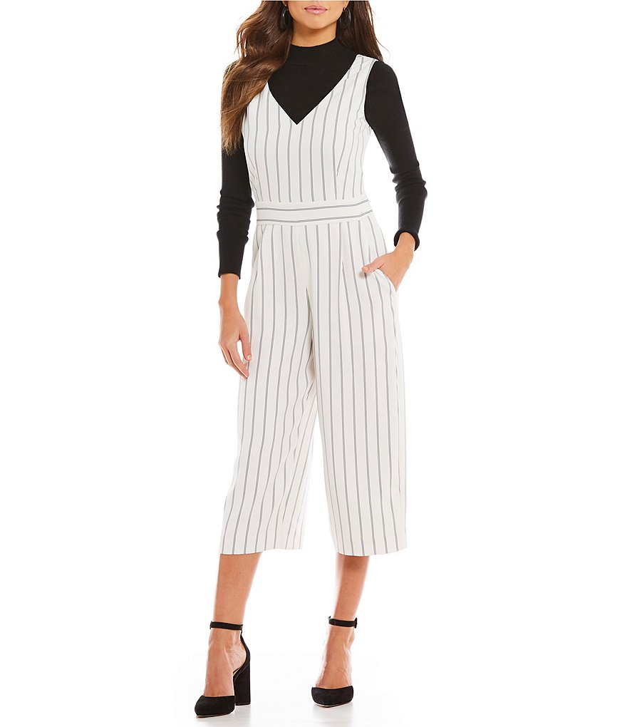 Gianni Bini Chaz Striped Deep V Culotte Jumpsuit
