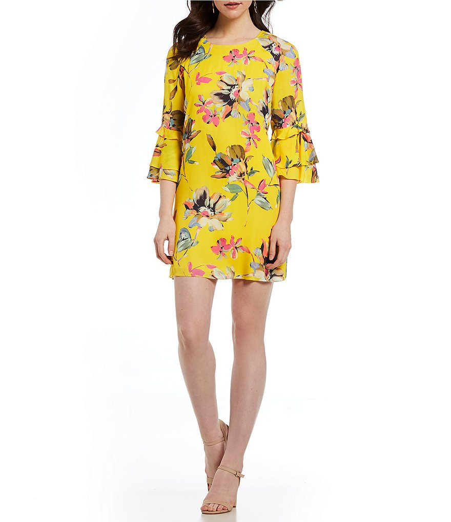 Gianni Bini Dandy Floral Print Bell Sleeve Dress