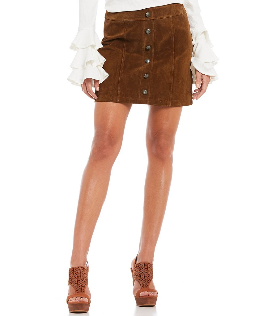 Gianni Bini Darcey Genuine Suede Button Front Skirt