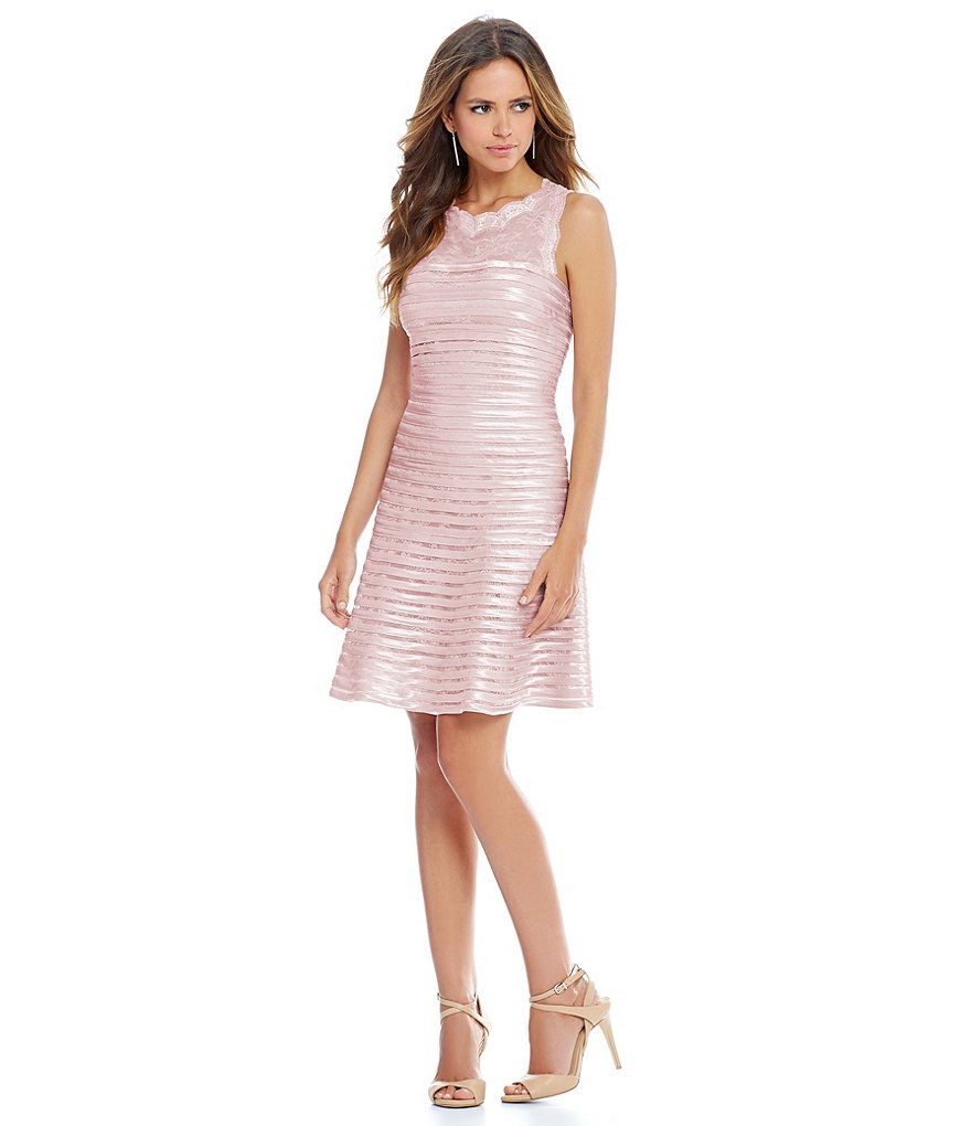 Gianni Bini Darla Satin & Lace Stripe Dress