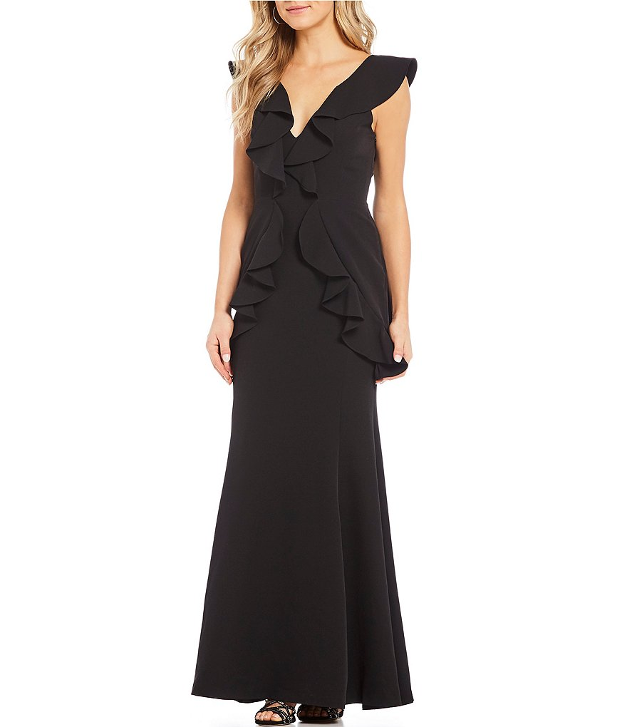 Gianni Bini Dee Ruffle Statement Shoulder V-Neck Gown