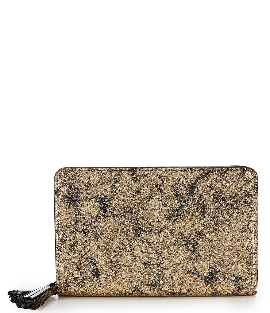 Gianni Bini Demi Snake Skin Power Bank Zip Around Clutch