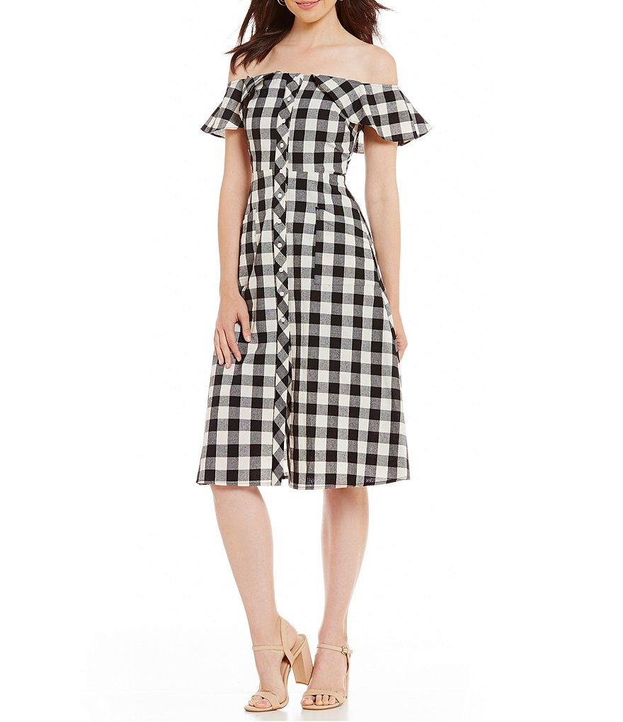 Gianni Bini Dylan Off the Shoulder Shirt Dress