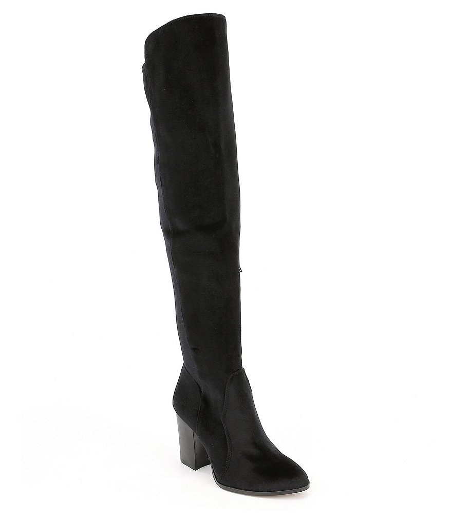 Gianni Bini Emeldaa Velvet Block Heel Over the Knee Boots