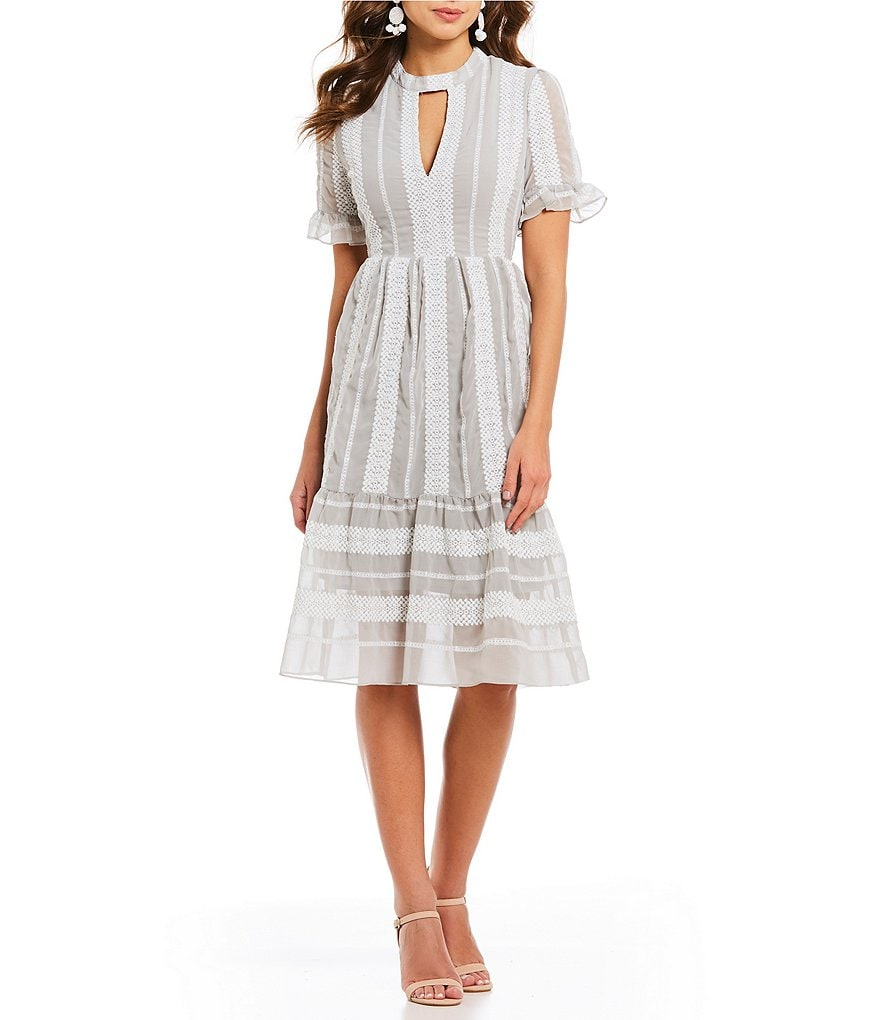 Gianni Bini Eryn Crochet Stripe Flounce Hem Midi Dress