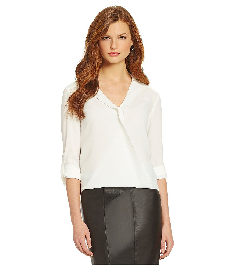 Gianni Bini Fan Fav Leni Faux Wrap Blouse