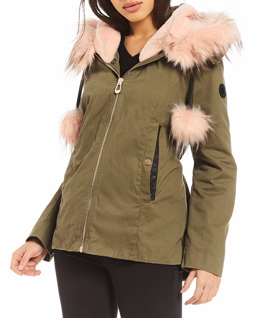 Gianni Bini Faux Fur Hooded Anorak Coat