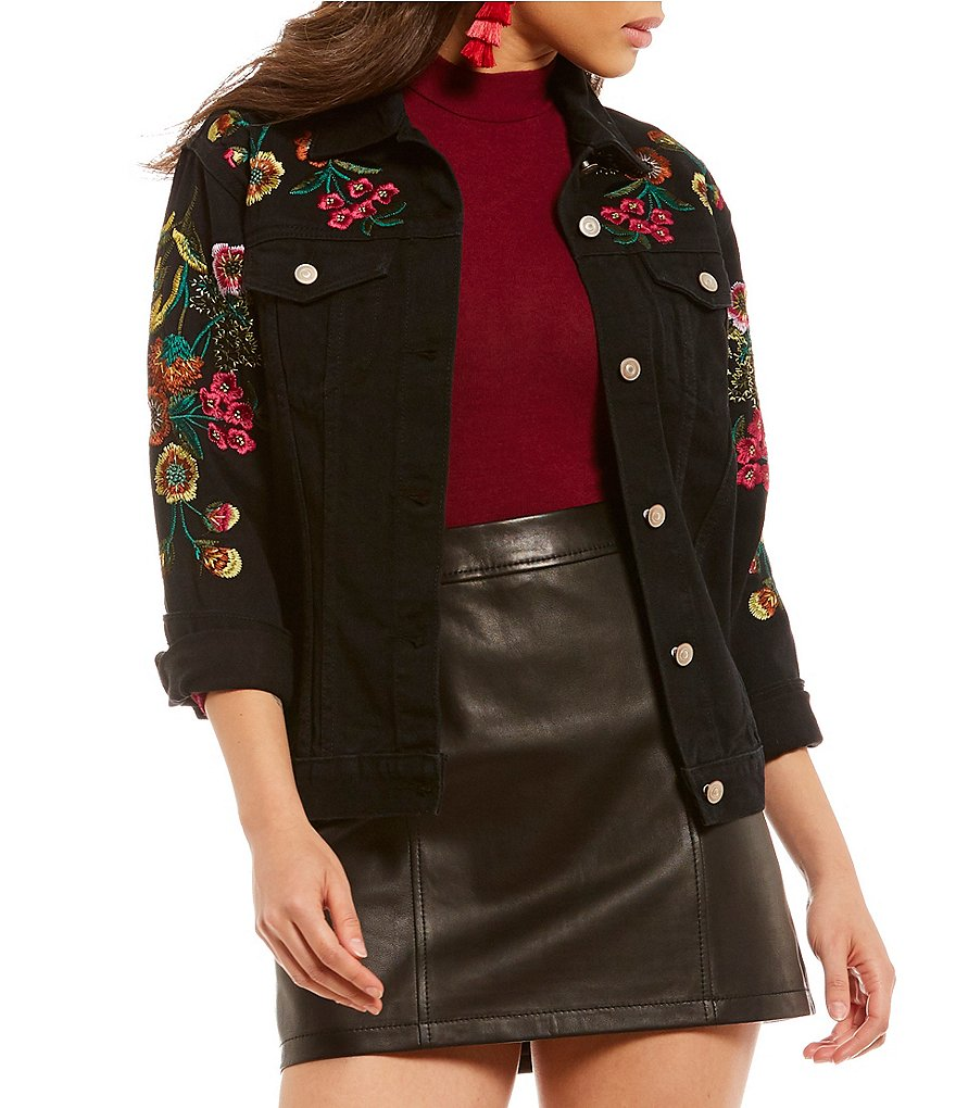 Gianni Bini Gigi Embroidered Black Denim Jacket