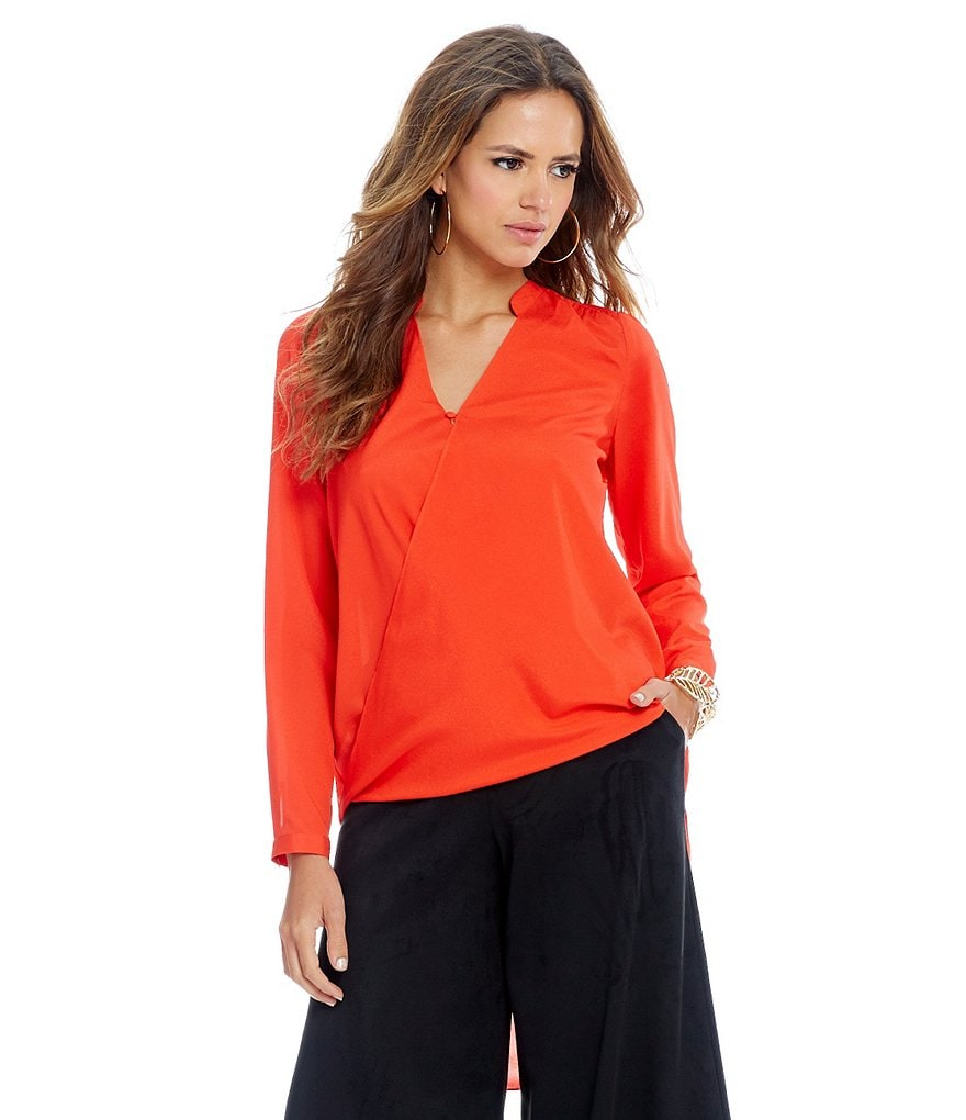 Gianni Bini Graziela Long Sleeve Wrap Blouse