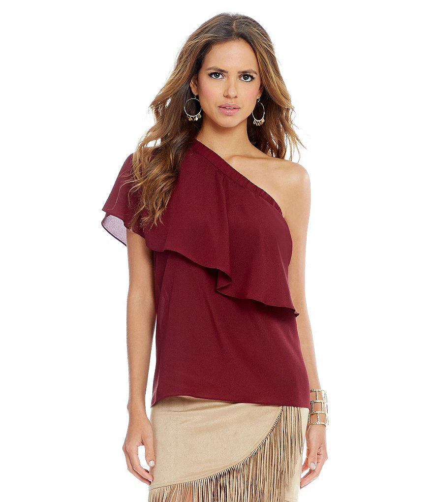 Gianni Bini Jamie One Shoulder Ruffle Blouse