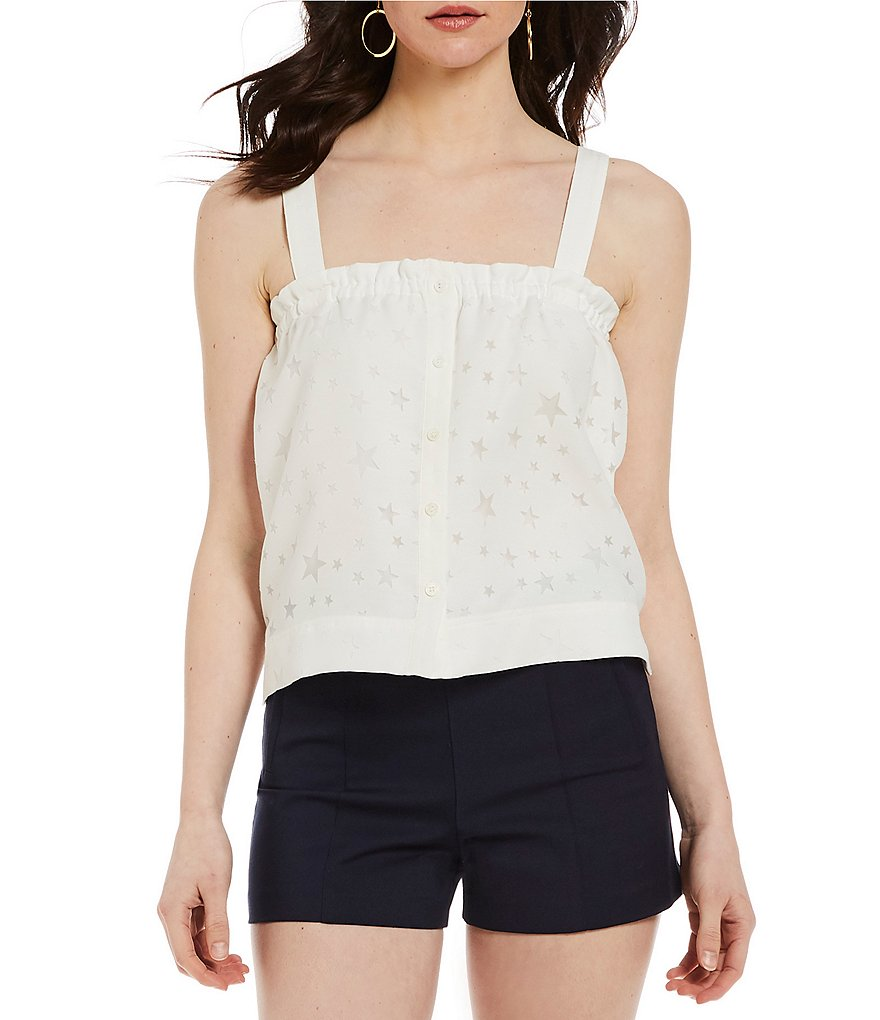 Gianni Bini Jamison Novel Star Burnout Wide Strap Tank Top