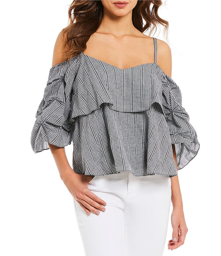 Gianni Bini Jenna Ruffle Cold Shoulder Gathered Sleeve Blouse