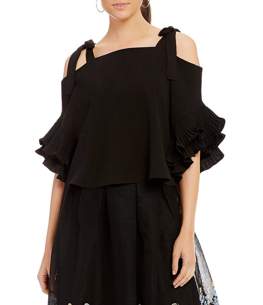 Gianni Bini Kammie Cold Shoulder Tiered Sleeve Tie Strap Blouse