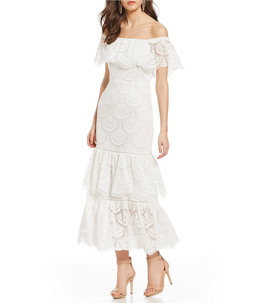 Gianni Bini Laney Lace Off-The-Shoulder Maxi Dress