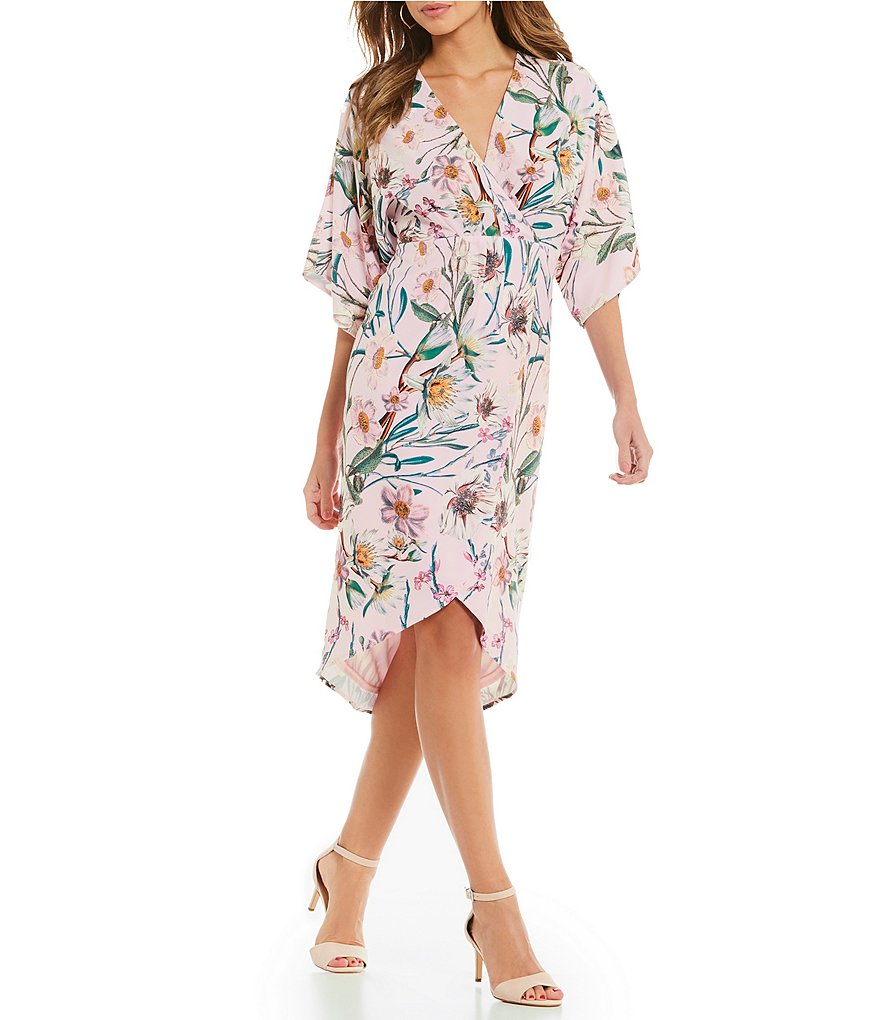 Gianni Bini Lara Floral Printed Faux Wrap Style Kimono Dress