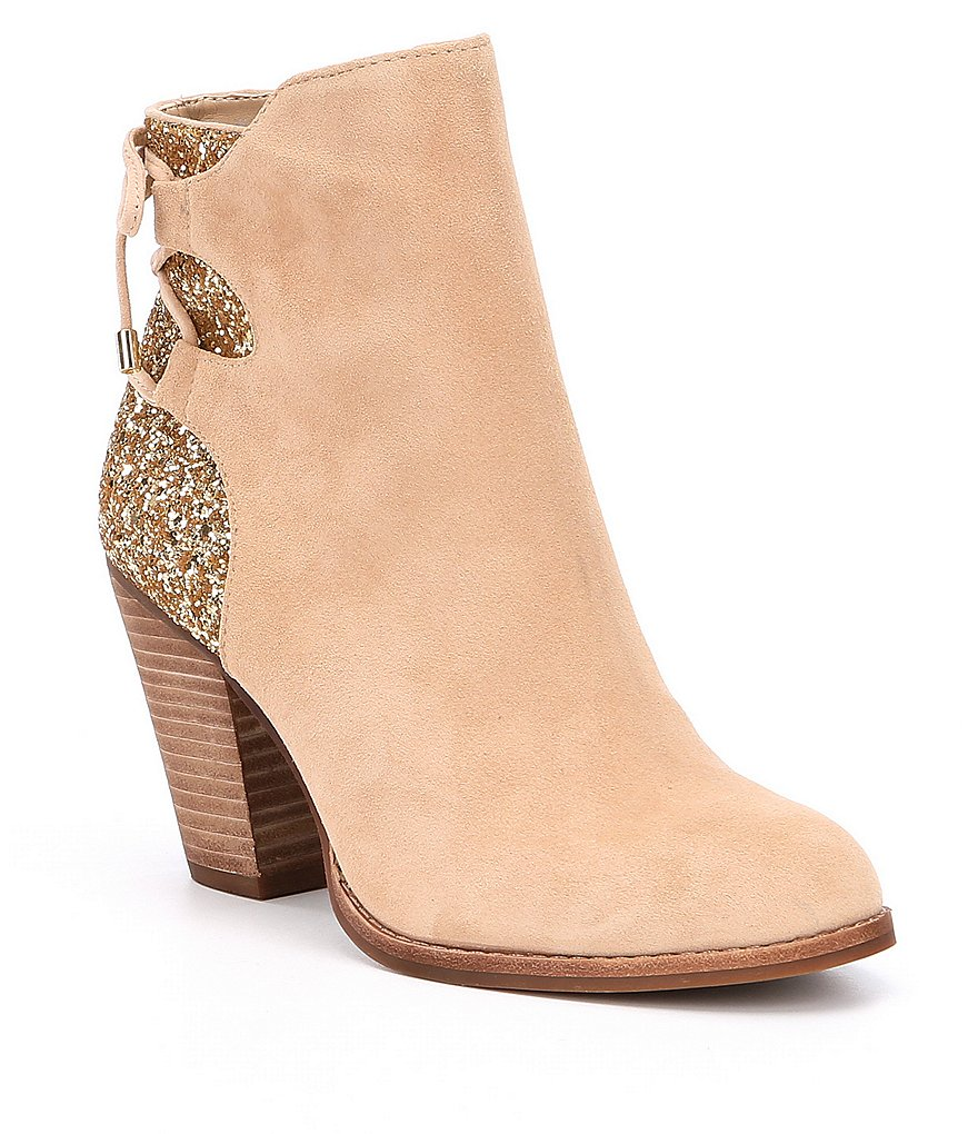 Gianni Bini Lulah Suede and Glitter Mix Tie Back Block Heel Booties