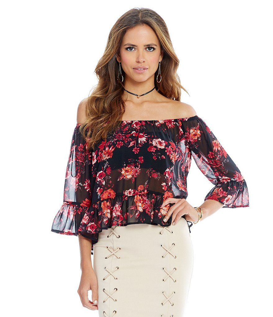 Gianni Bini Marie Floral Off-the-Shoulder Bell Sleeve Blouse