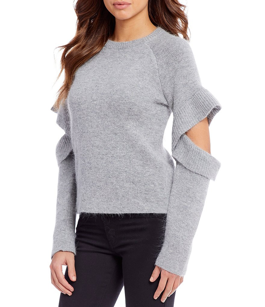 Gianni Bini Meeka Elbow Cutout Ruffle Sleeve Sweater