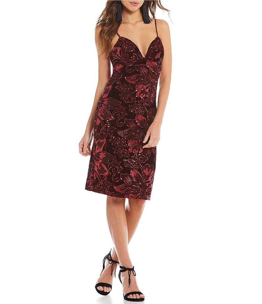Gianni Bini Mel Floral Sequin Velvet Dress