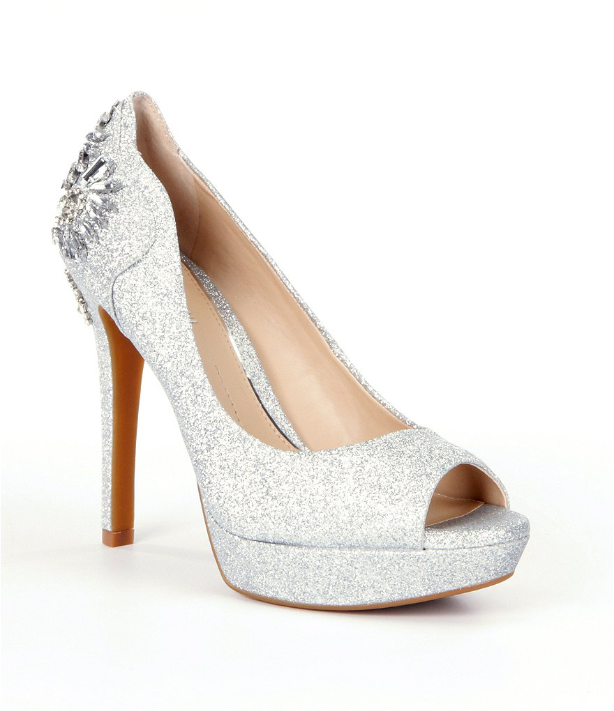 Gianni Bini Merri Glitter Jeweled Peep-Toe Pumps