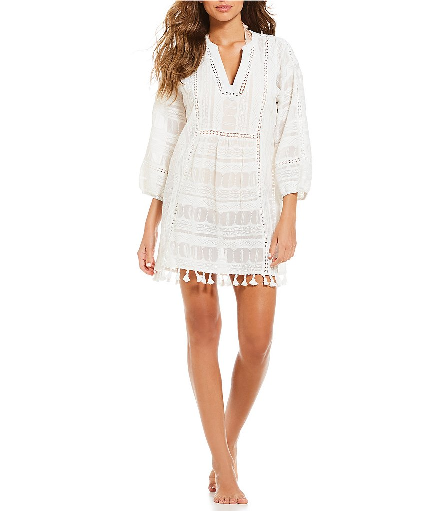 Gianni Bini Mesh Embroidered Tassel Tunic Dress Swimsuit Cover-Up