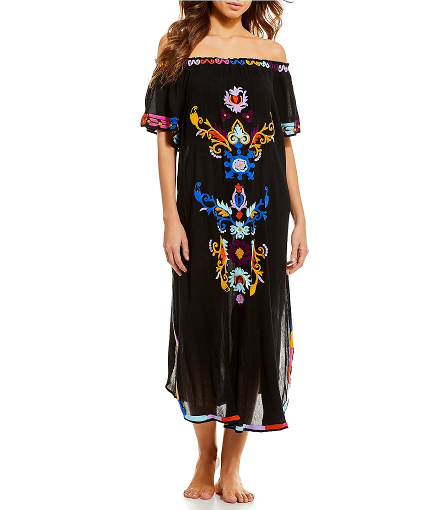 Gianni Bini Off-The-Shoulder Embroidered Dress Swimsuit Cover-Up