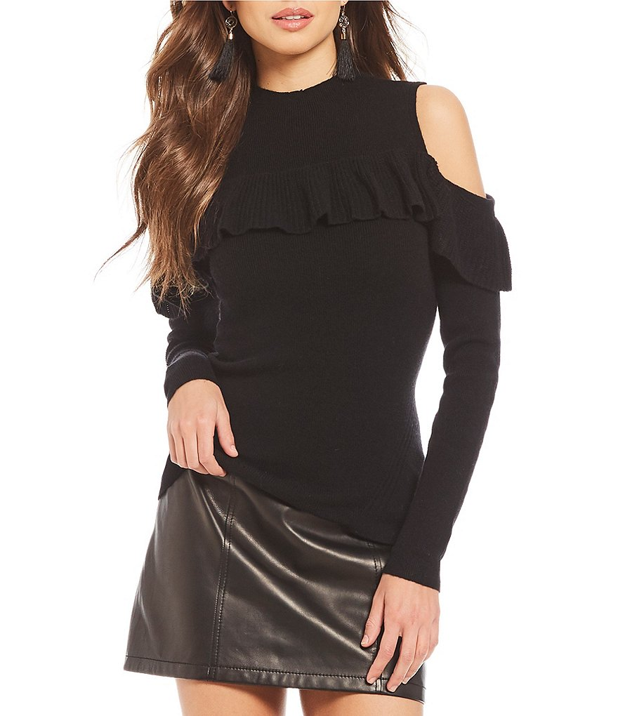 Gianni Bini Penny Cold Shoulder Ruffle Sweater