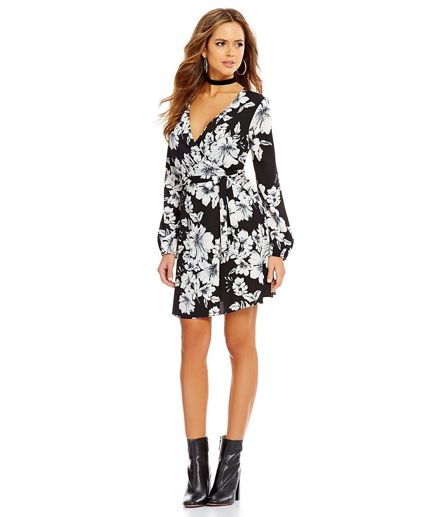 Gianni Bini Regan V-Neck Long Sleeve Floral Wrap Dress