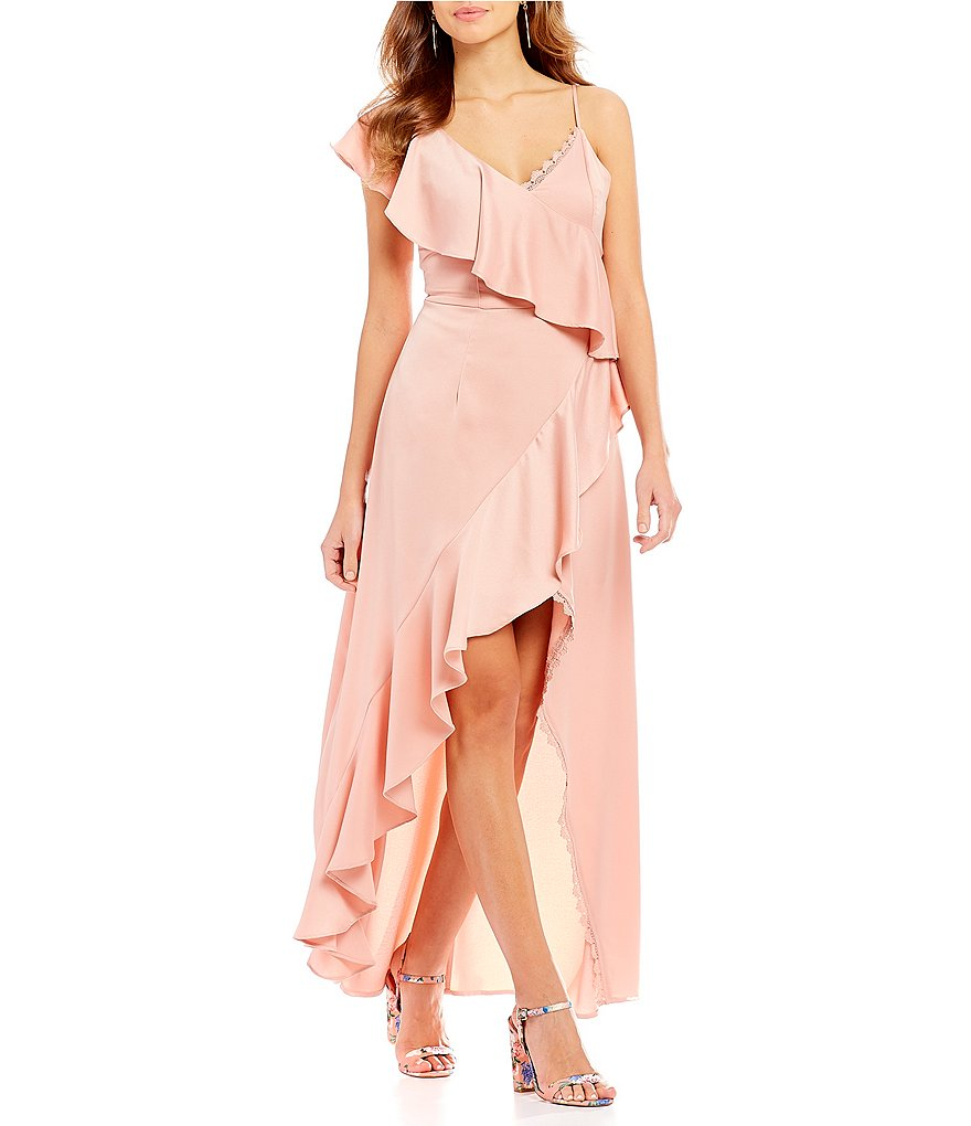 Gianni Bini Rose Asymmetrical Ruffle Front Satin Faux Wrap Dress