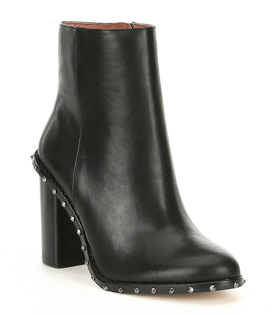 Gianni Bini Zanderson Leather Studded Welt Block Heel Booties