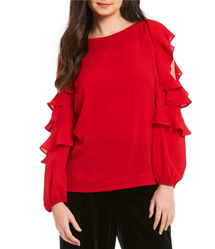 Gibson & Latimer Cold Shoulder Ruffle Sleeve Blouse