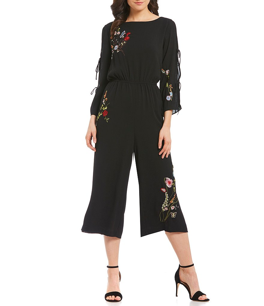 Gibson & Latimer Embroidered Culotte Jumpsuit