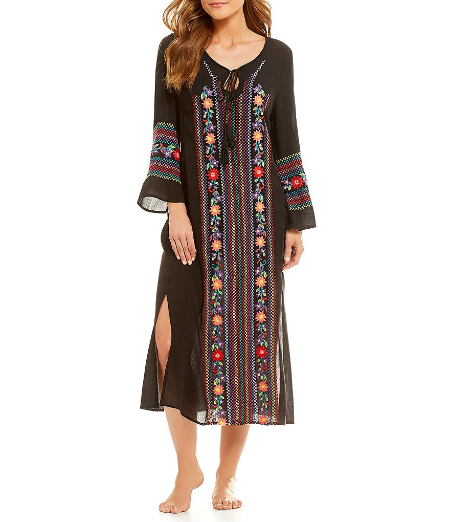Gibson & Latimer Embroidered Maxi Dress Swimsuit Cover-Up