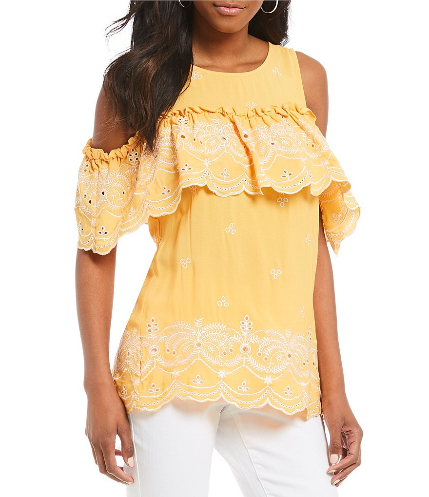 Gibson & Latimer Embroidered Scalloped Ruffle Blouse