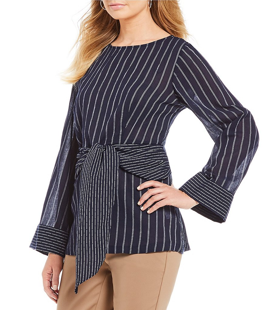 Gibson & Latimer Long Sleeve Tie Front Novelty Shirting Blouse