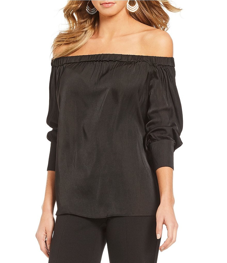 Gibson & Latimer Off-The-Shoulder Satin Top