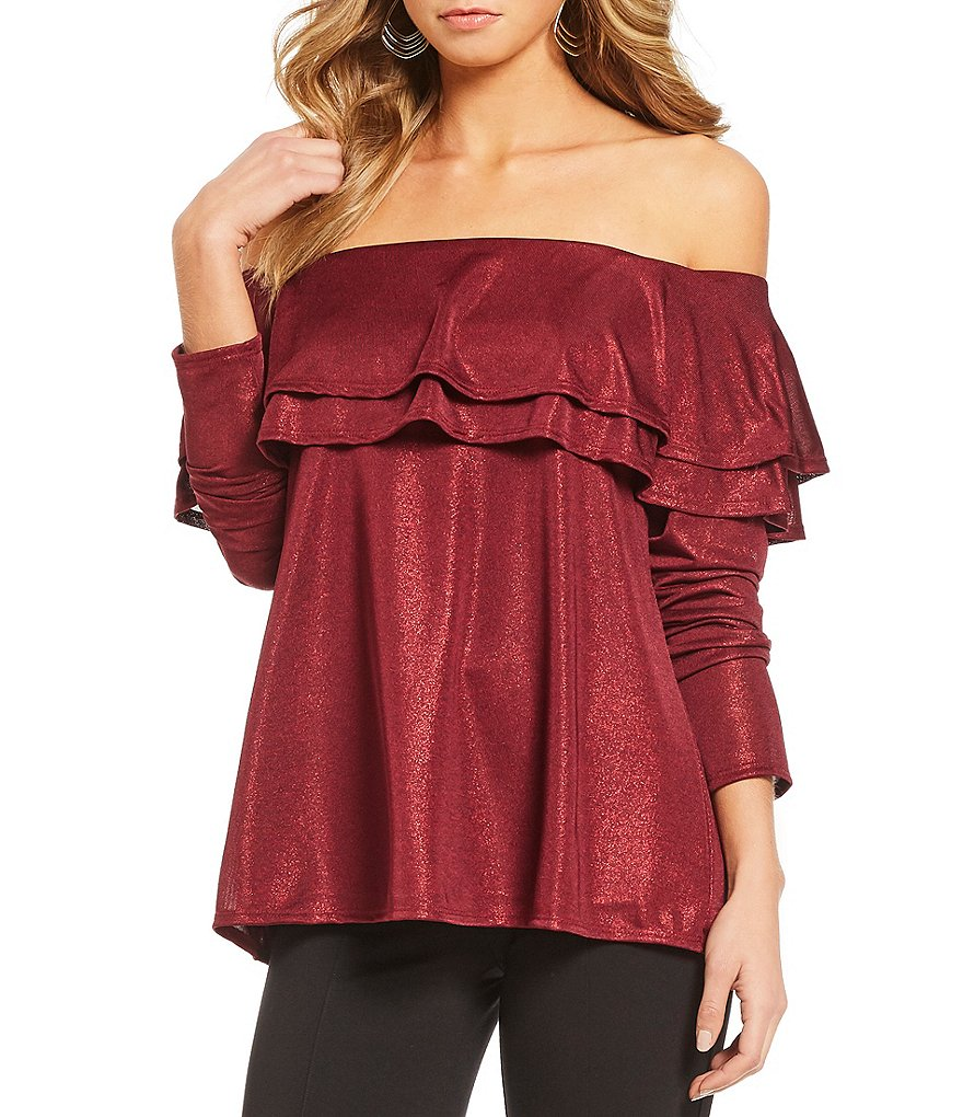 Gibson & Latimer Metallic Off-The-Shoulder Tiered Ruffle Blouse