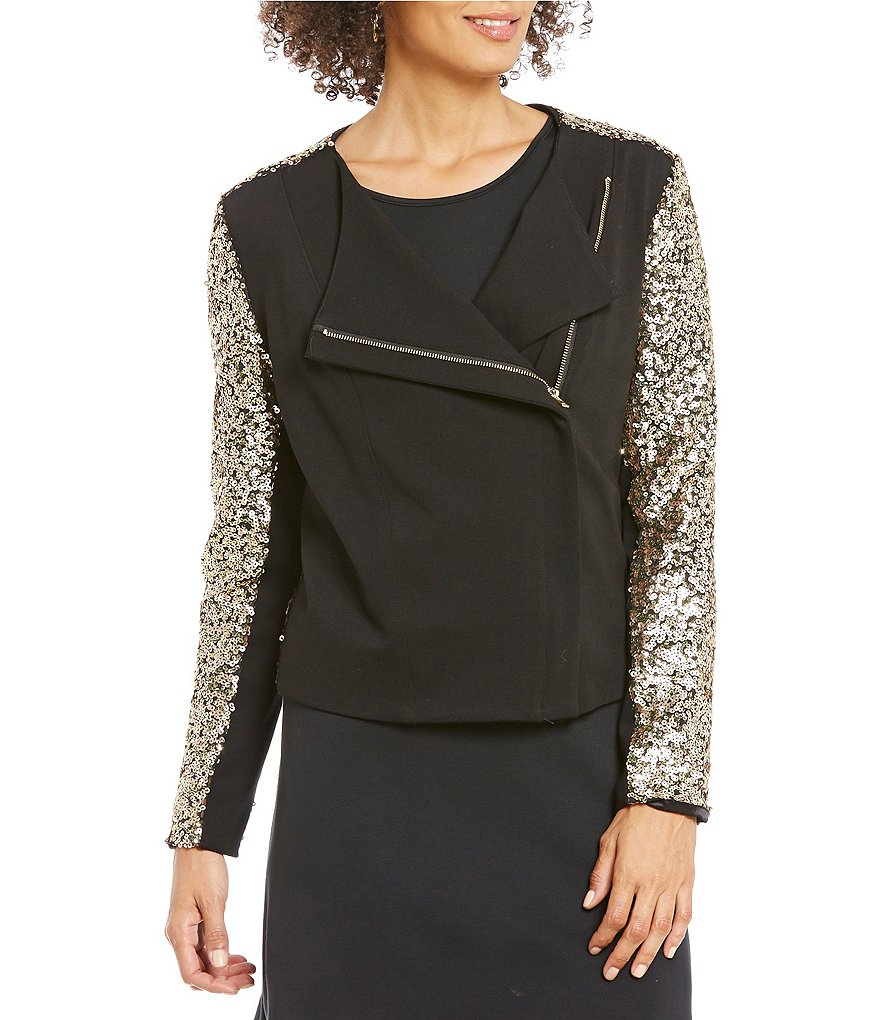 Gibson & Latimer Open Neck Long Sleeve Sequin Moto Jacket