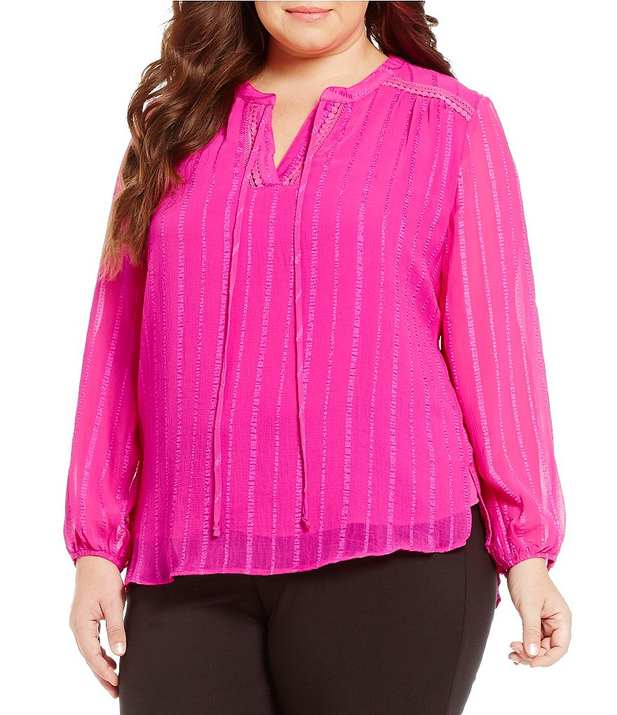 Gibson & Latimer Plus Long Sleeve Textured Peasant Blouse