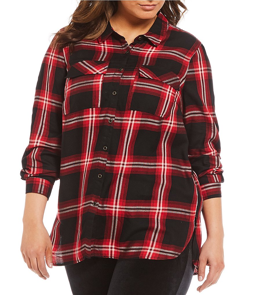 Gibson & Latimer Plus Plaid Blouse